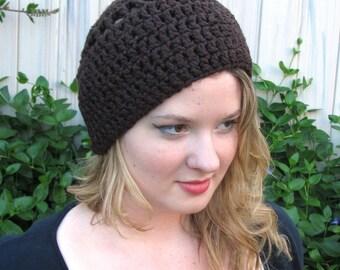 Beanie Hat, Chocolate Brown, Organic Cotton, Crochet