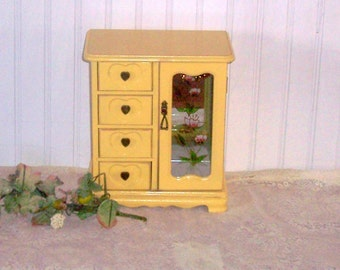 Vintage  jewelry box  romantic french farmhouse style in distressed  shabby warm yellow  stained glass door