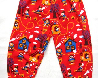 Fireman pants sizes 0-6 years, Organic cotton kids harem pants red firefighter baby pants slouch pants baby boy pants, baggy trousers