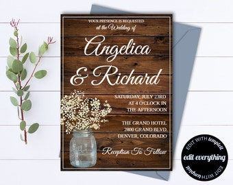 Rustic Wedding Invitation Template - Country Wedding Template - Instant Download Printable Invitation - Rustic Invitation Wedding Template