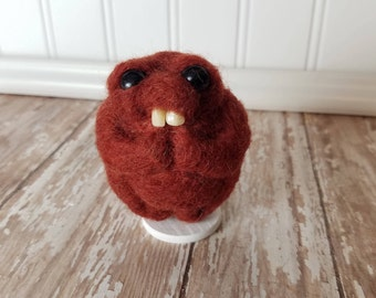 Adorable Needle Felted Wool Toothy Monster- Maroon