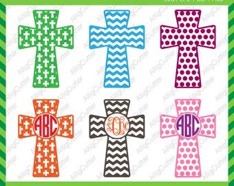 Easter Cristian Cross Patterned Frames SVG DXF PNG eps Monogram Cut File for Cricut Design, Silhouette studio, Sure Cut A Lot, Makes the Cut