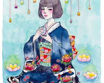 Tea Time. Bring you peaceful time. Watercolor Painting Prints.
