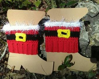 Santa Boot cuff, Santa, Holiday, boot topper, boot sock