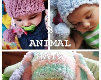 3 to 6m Animal Beanie Crochet Baby Hat Set Bunny Hat Kitten Hat Bear Hat Beanie Set Animal Photography Prop Set Choose Colors, Baby Gift