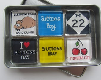 SUTTONS BAY, Leelanau, M22, Up North Michigan, Michigan Magnets Set, Michigan Gift, Leland, Northport, Northwest Michigan Souvenir