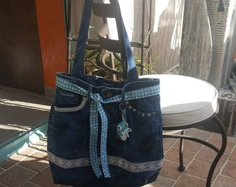 In a recycled denim tote bag
