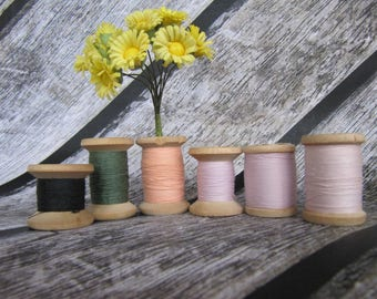 Vintage sewing threads soviet threads wooden spool vintage cotton thread rustic decor sewing supplies wood craft supply wooden thread spool