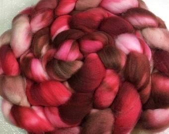 Superwash merino/nylon combed wool top | spinning fiber | handpainted | resists felting | red | bronze