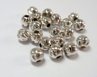 5mm Sterling Silver Corrugated Twist Bead, .925 Sterling Silver Round Twist Beads - 20 Beads