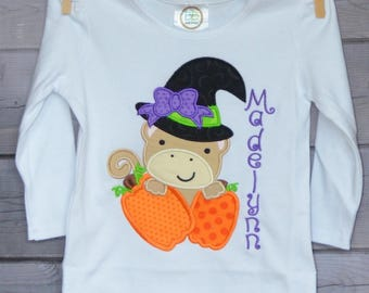 Personalized Halloween Girly Monkey with Witch Hat and Pumpkins Applique Shirt or Bodysuit for Boy or Girl
