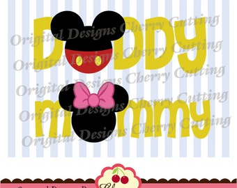 SVG,Eps,DXF cut files,Mommy and Daddy, Mouse ears SVG,Mickey and Minnie Silhouette and Cricut Cut Files BSCH05-Personal and Commercial Use