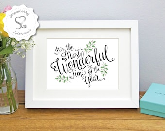 Most Wonderful Time of the Year Christmas Print/Framed Print/ Home Art/Picture Gift/Keepsake/Word Art/Typographic/Xmas Decor - FREE SHIPPING