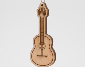 Classical Guitar Keychain - Guitar Carved Wood Key Ring - Acoustic Guitar Engraved Wooden Charm - Flamenco Acoustic Guitar - Spanish Guitar