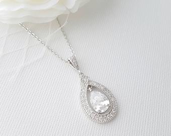 Wedding Crystal Pendant Bridal Necklace Rose Gold Wedding Necklace Bridesmaid Pendant Necklace Halo Style Bridal Jewelry, Sarah