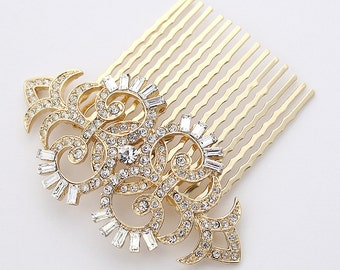 Gold Bridal Comb Art Deco Hair Comb Vintage Old Hollywood Gatsby Wedding Hairpiece Rhinestone Gold Hair Combs Bridal Hair Jewelry
