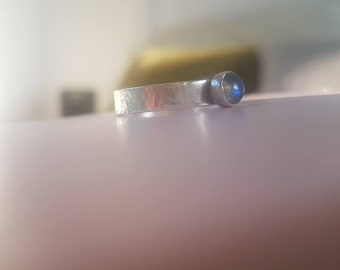 Beautiful Blue Flash Labradorite sterling silver stacking ring