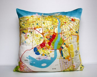 city maps DUBAI- map cushion, organic cotton, pillow, throw cushion, cushion covers, 16 inch, 41cms cushion cover