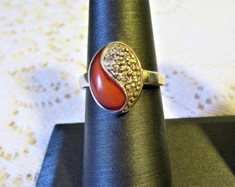 Vintage Sterling Silver 925 Carnelian and Rhinestone Ring