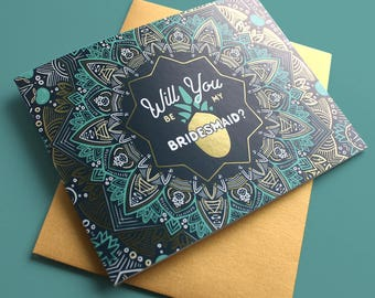Destination Wedding, Will You be My Bridesmaid, Bridesmaid Proposal Cards, Gold Foil, Pineapple Wedding, Tropical Wedding