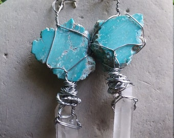 Turquoise and quartz wire wrapped earings
