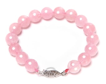Fine Faceted Rose Quartz and Sterling Silver Bracelet FREE SHIPPING