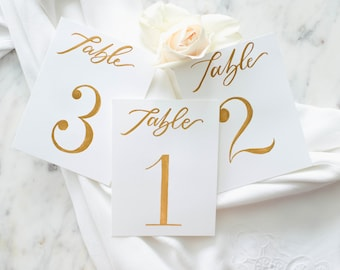 Table Numbers with Gold Ink Calligraphy // Hand Lettered Table Numbers, Wedding Calligraphy Table Numbers, LettereWedding Table Numbers