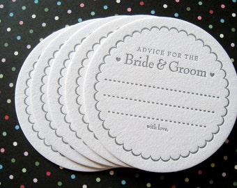 Letterpress Coaster Set - advice for the bride & groom (set of 50)