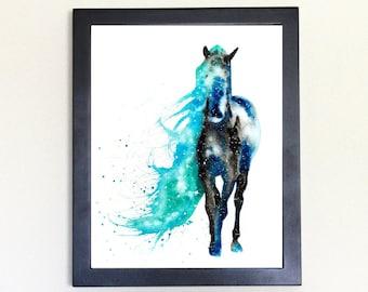 Wild Horse Art Print, Galaxy Spirit Animal Watercolor 8x10