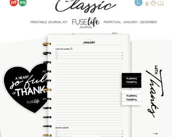 US Letter + A4 Black and White Gratitude Journal Kit : Large FUSElife Classic > inc Cover, Bookmark, Tabs + Tip Guide (jes0572)