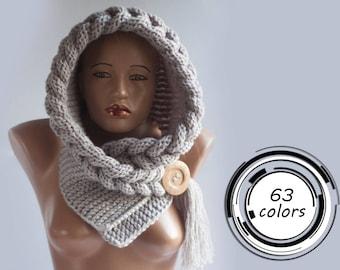 Hooded Scarf, Scarf, Hood, scarf hooded, Chunky scarf, Wool cowl, LoveKnittings