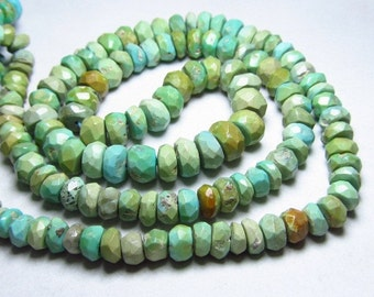 16 inches full strand - so gorgeous natural- tibetian tourquise micro faceted  rondell beads graduated size 6.5 - 4 mm