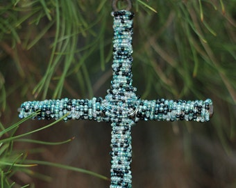 Glass Beaded Wall Cross In Shades Of Teal Blue
