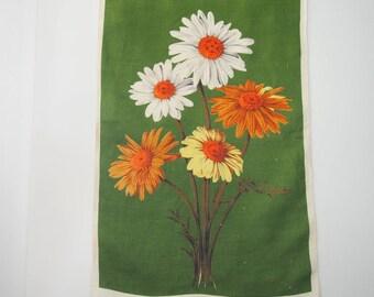 Vintage Tea Towel Daisies Gerberas Linen Kitchen Tea Towel