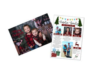 Year in Review Christmas Card, 4x6 Photo Cards, Christmas Card, Christmas Letter, Yearly Letter, Merry Christmas, DIGITAL