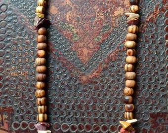 Long Mookaite,crystal,Olive Wood Beaded Necklace,Boho,Rustic,Unisex,Hippie,Grounding,Earthy,Gypsy