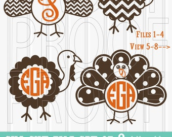 Monogram SVG Files Set of 8 cutting files includes svg/png/jpg formats! Commercial use approved! Limited time half price!!