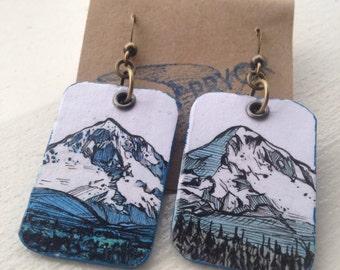 Mt Hood - pdx hand-painted earrings - Portland, Oregon mountain with Mirror Lake