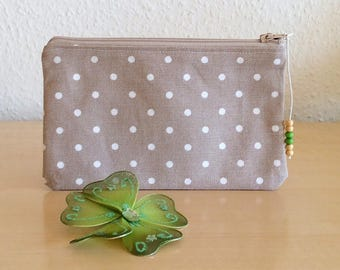 Elegant clutch with white dots - makeup bag - purse fabric
