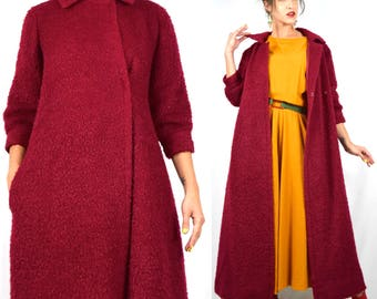 Vintage 1960s Yves Saint Laurent YSL Cranberry Nubby Wool Knit Swing Coat (size xs, small)