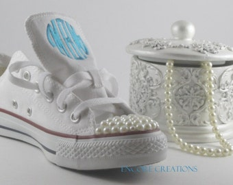 Kids White Monogrammed Pearl Converse-Special Occasion Converse--Pearl Embellished Chucks-Monogrammed Chucks