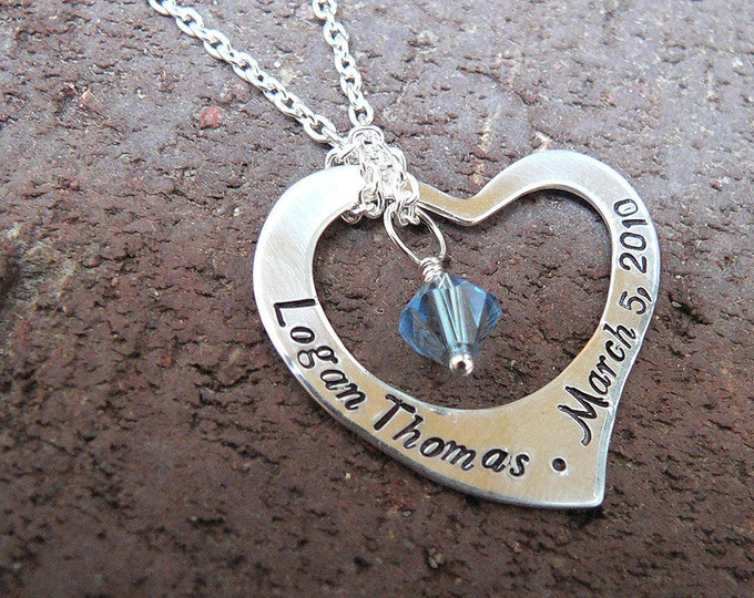 Captive Heart...Custom Artisan Solid Sterling Silver Necklace... Names Name Words Message Font Choices