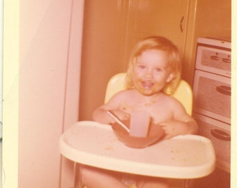 1960 Messy Baby Eating in High Chair Happy Blonde Toddler MCM 60s Vintage Photograph Color Photo