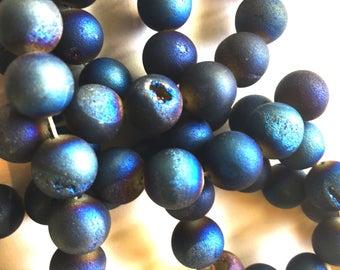 Titanium Quartz Druzy Drilled Beads / Bead