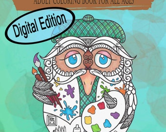 Digital Edition Whimsical Doodle Owl in the egg Adult Coloring Book and all ages