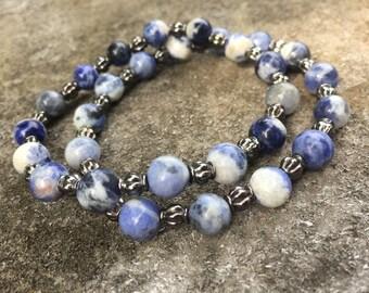 Sodalite beaded bracelet, bohemian bracelet, hippie bracelet, boho, rustic jewelry, boho jewelry, charity bracelets, proceeds to charity.