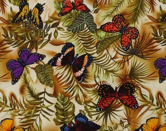 CZ008 - 108cmx100cm  Cotton Fabric - Butterfly and leaf