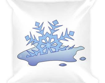 Melted Snowflake Square Pillow- Christmas Gift - Throw Pillow, Bed Pillow, Kids Room Decor