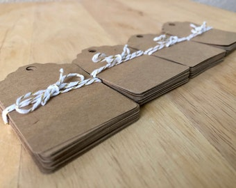 Rustic Kraft Mini Gift Tags, Blank, with String, Any Occassion