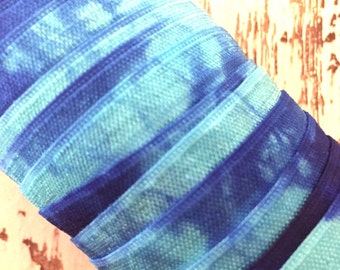 """5/8"""" Hand Dyed Tie Dye Fold Over Elastic -  Turquoise Sky Blue - Hair Accessory Supplies"""